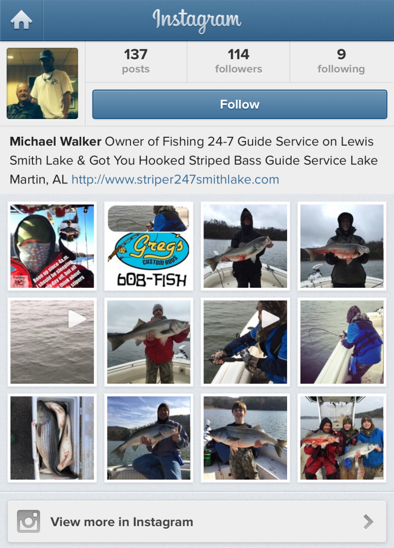 Fishing 24-7 Guide Service Instagram Link Stripers247